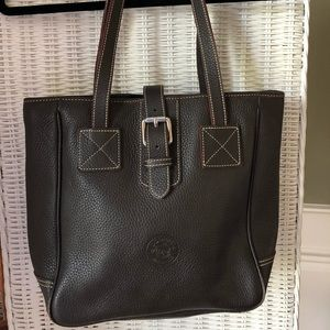 Dooney and Burke dark brown leather small tote.